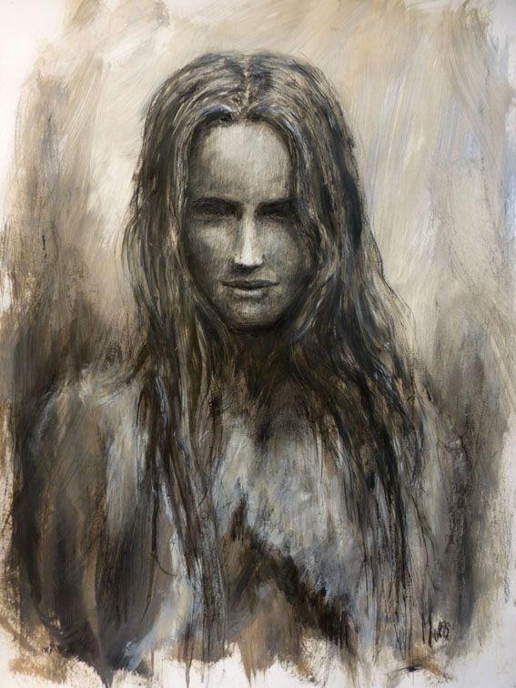 portrait, mixed media, Eduard Moes