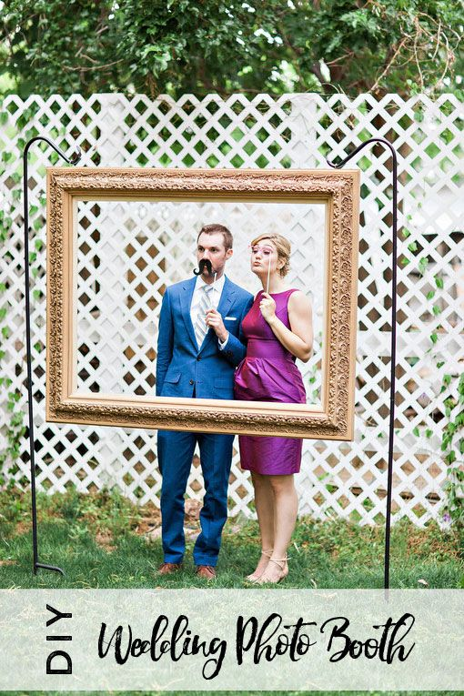 DIY Wedding Photo Booth using an open-back picture frame