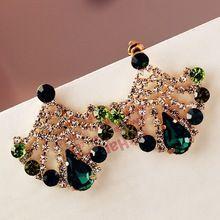 Южная корея серьги из павлиньи перья мао бао сине-зеленый gem кристалл комплект…