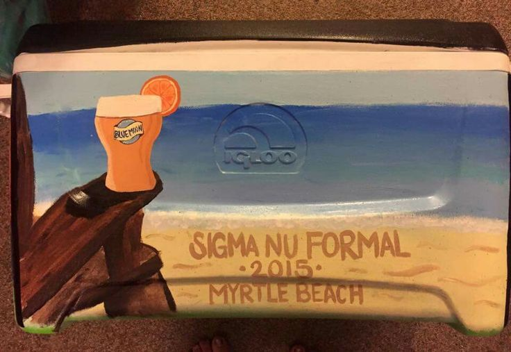 Beach scene Sigma nu ΣΝ formal myrtle Beach SC blue moon beer cooler side