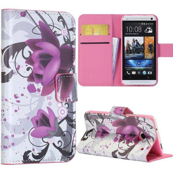Paarse bloem booktype hoesje voor HTC One m7