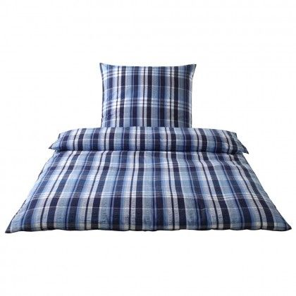 Elegante Web-Seersucker Bettwäsche Edinburgh blau Kissenbezug einzeln 80x80 cm