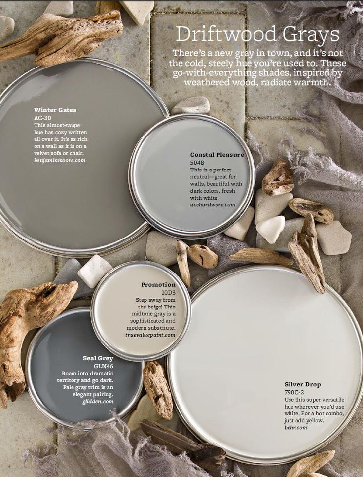 Driftwood Grays Color Palette - I would use True Value Paint's Promotion on Mom's walls.