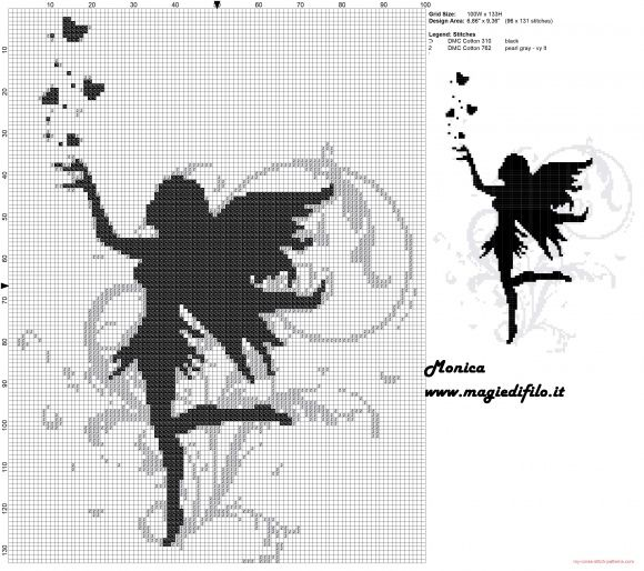 Black fairy cross stitch pattern  http://www.my-cross-stitch-patterns.com/black_fairy_cross_stitch_pattern_.html