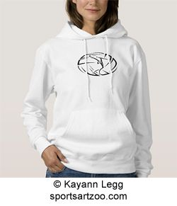 Stylized Female Volleyball Player with Ball Womens Basic Hooded Sweatshirt by SportsArtZoo #volleyball #female #hoodie
