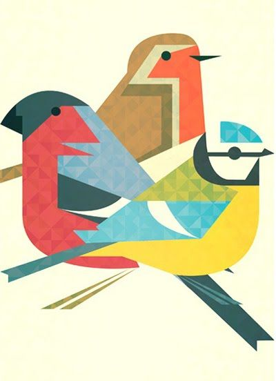 Crayonfire print 'Feathered Folk'