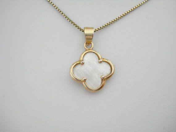 Gold clover necklace Lucky charm bracelet Mother of by Poppyg