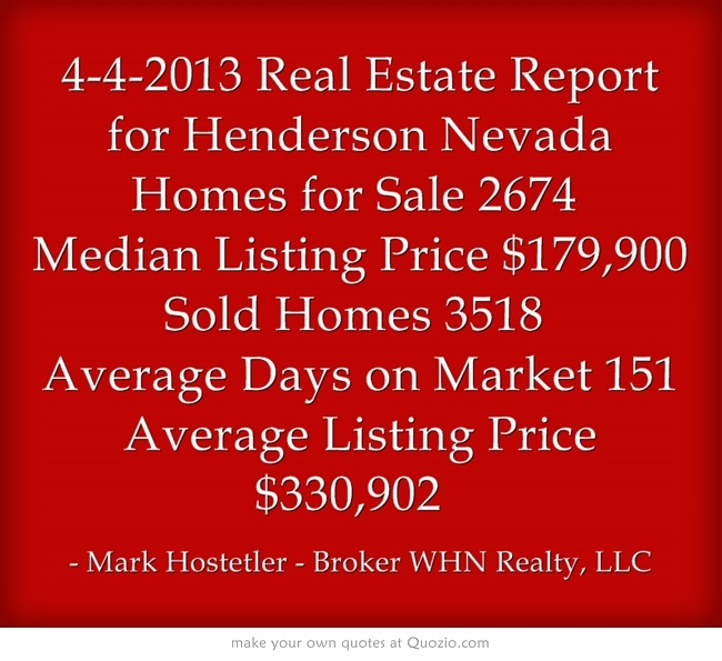 4-4-2013 Real Estate Report for Henderson Nevada Homes for Sale 2674  Median Listing Price $179,900 Sold Homes 3518  Average Days on Market 151 Average Listing Price $330,902