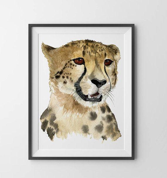 Impression d'aquarelle guépard. Chambre de bébé guépard impression. Art de bébé. Peinture aquarelle de guépard. Animaux de Safari. Décor.baby murales