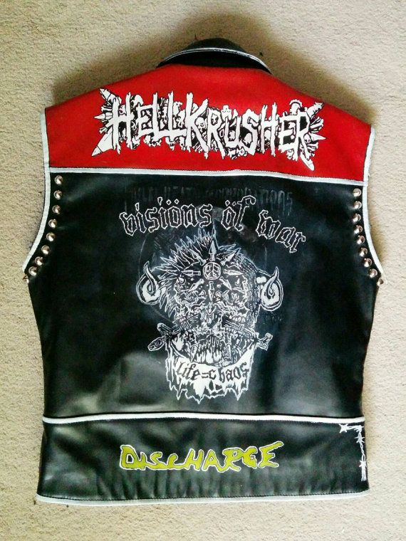 punk leather vest crust punk vest crust punk by StuddedStitches