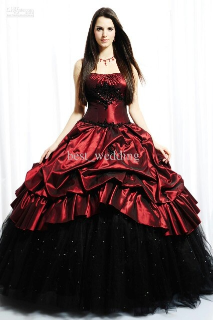Red and black quinceañera dress