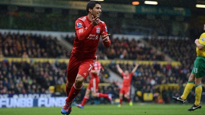 Luis Suárez (Liverpool FC)  Luis Suárez of Liverpool FC celebrates after scoring the opening goal during the English Premier League match against Norwich City FC