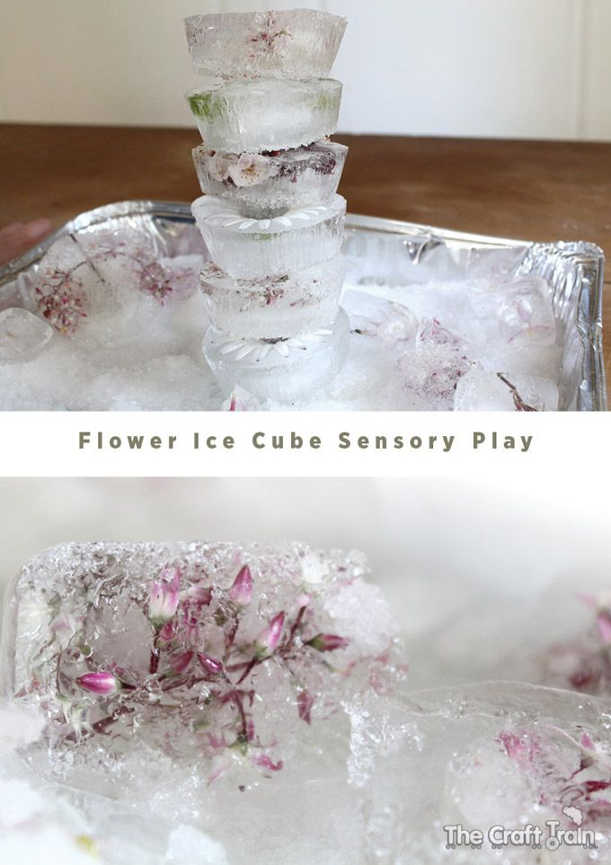 Flower ice cube sensory play