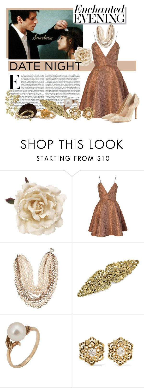 """Date Night"" by fashion-film-fun ❤ liked on Polyvore featuring Monsoon, Joana Almagro, 1928, Mikimoto, Fred Leighton and Gianvito Rossi"