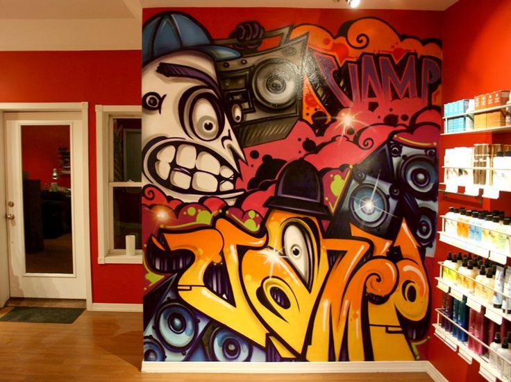 Indoor mural from vamp studio upper montclair nj art for Bedroom graffiti designs