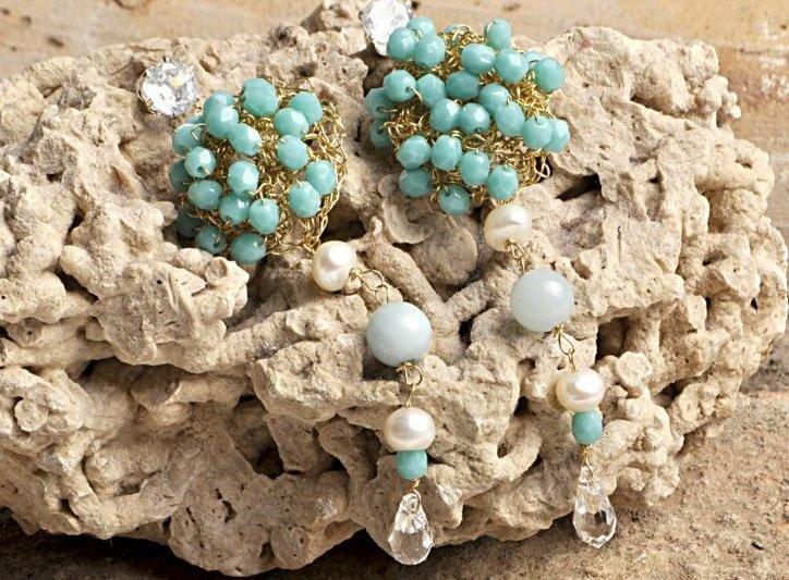 ottone, perle, quarzo