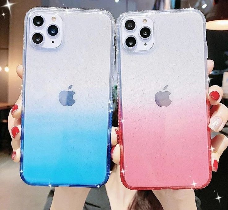Colorful clear gradient glitter phone case for iphone 11