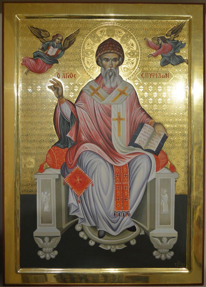 Orthodox Icon Handpainted Greek Byzantine 24k St Spyridon Mount ATHOS Style