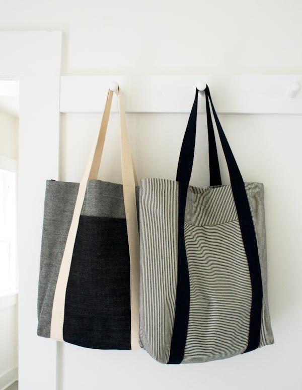 Verwandeln Sie schmutzversteckende Denim-Streifen und -Neutrale in starke, nützliche Taschen zum Shoppen …   – diy projects