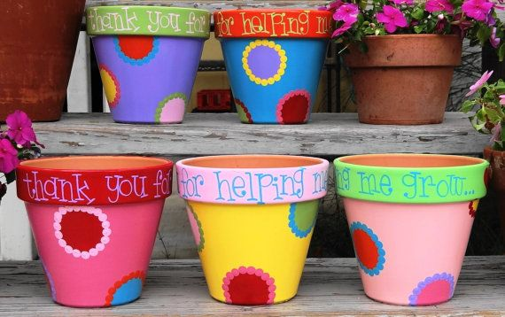 Flower Pot for Teacher Teacher Gift Thank You Teacher on Etsy, $30.00