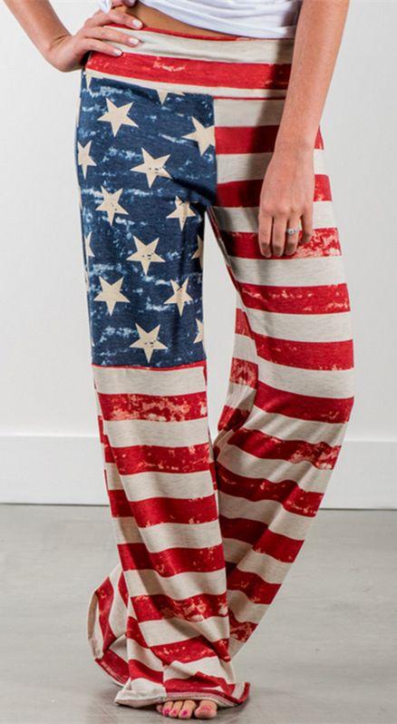 American Flag Printed Wide Leg Pants