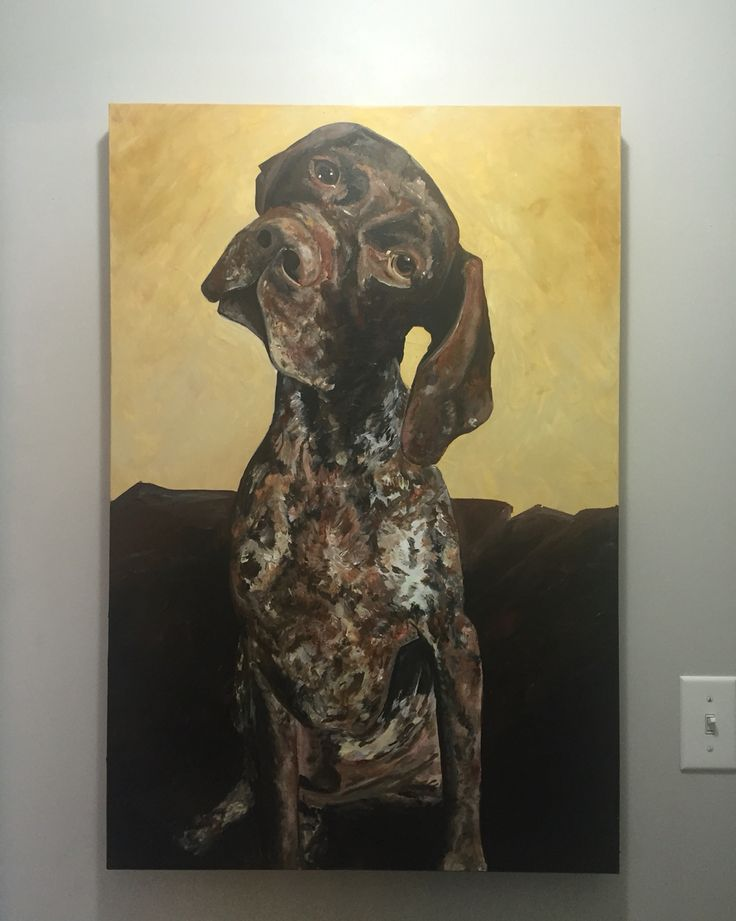 Original acrylic painting - see the artist here. Www.tabcreates.ca or find her on Social Media @tabcreates #puppy #GermanShorthairedPointer #painting #artist