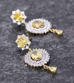 Golden & Yellow Embellished Flower Earrings
