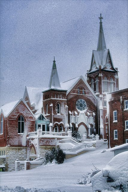 The Swiss United Church in New Glarus, Wisconsin early in the morning as the blizzard starts to let up.