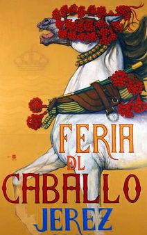 Vintage poster for Feria, in an analucian town called Jerez. Feria is a traditional spanish week long celebration, of live music, flamenco and horses.