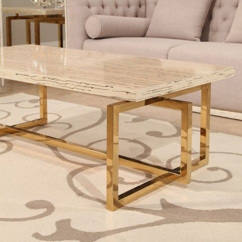 Betty Stainless Steel Coffee Table Beige Abbyson Target