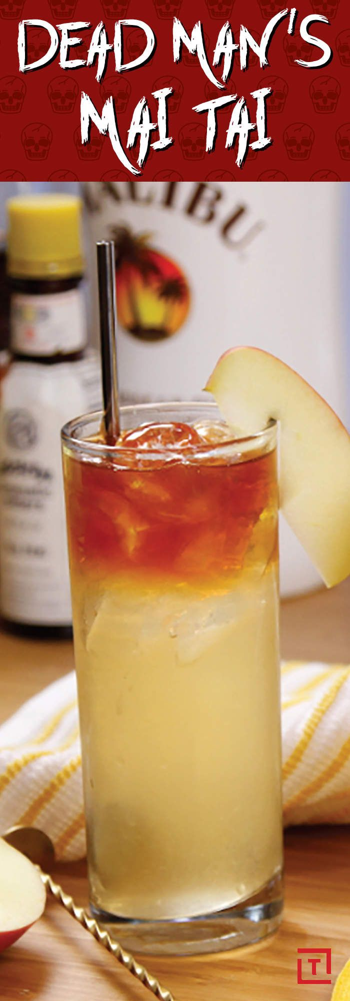 What's easy to make and features coconut rum, apple cider, cinnamon, and more rum? This Dead Man's Mai Tai.