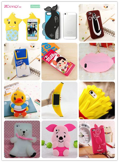 For Apple iphone 5 5s 5C 4s soft silicone phone cover case 3D cute Animal & film