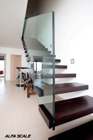 Open staircase with no visible structure, without side spacer