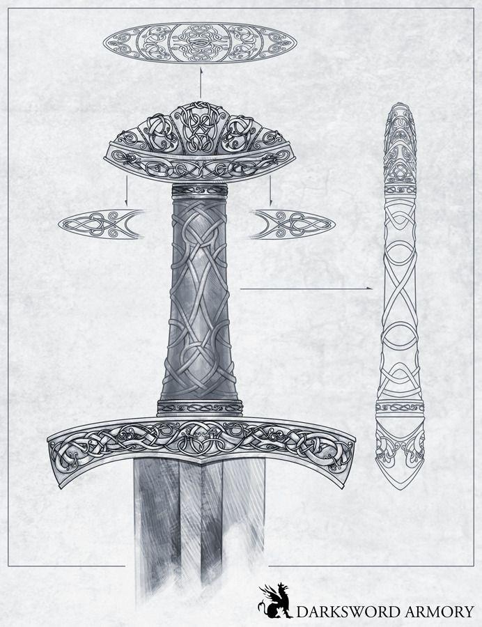 Viking Sword Hilt Design for Dark Sword Armory. http://terrymaranda.tumblr.com/post/30927418119/i-designed-this-sword-hilt-for-darksword-armory