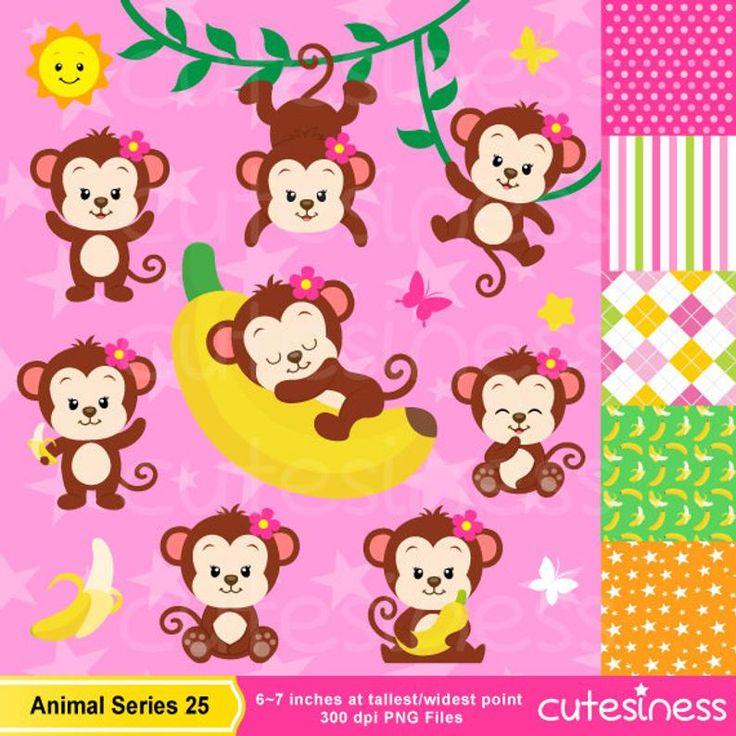 Monkeys clipart set clip art set of cute monkeys monkey