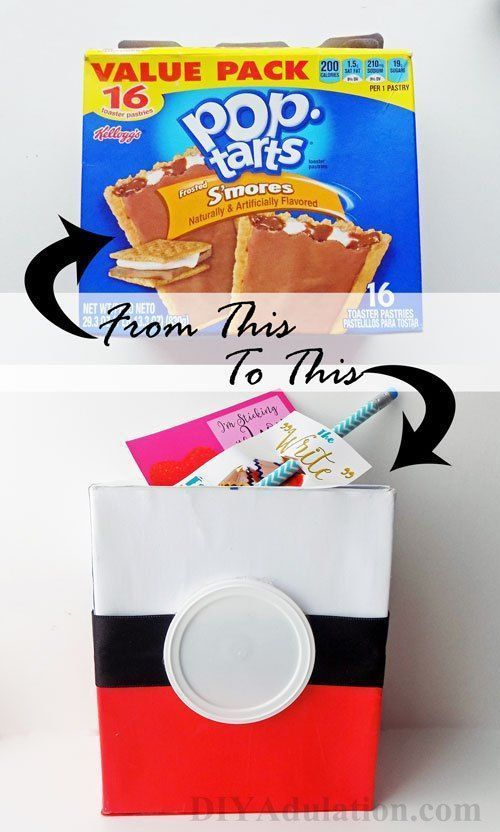 This recycled Pokeball Valentine box is made from items you already have laying around. Whip it up in time for your child's party.