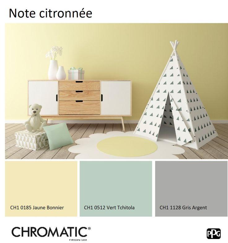 Cette tonalité pâle et légère de sorbet citron égaie la chambre de bébé. www.chromaticstore.com