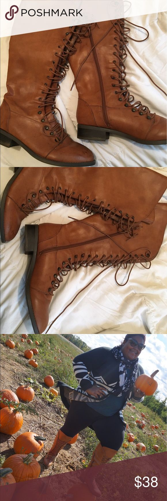 Torrid Knee high boots Perfect for fall! Worn twice. torrid Shoes Lace Up Boots