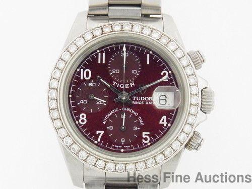 79280 Genuine Rolex Tudor Tiger Burgundy Dial w/ Diamonds Chronograph Mens Watch