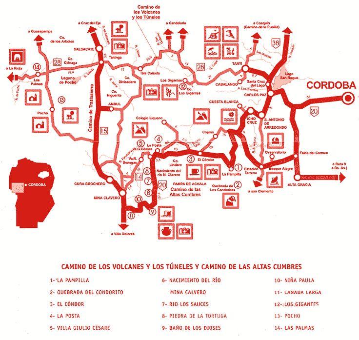 Cordoba - antiguo mapa Camino de las Altas Cumbres, los Volcanes y los Túneles