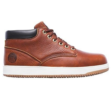 Skechers Work Men's Ossun Amokine Memory Foam Steel Toe Boots (Dark Brown)