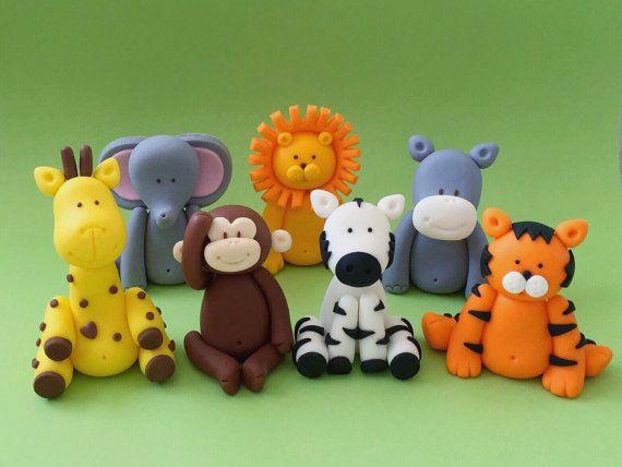 2 Fondant Animals Cake Topper. Jungle Baby Shower/Birthday Cake Topper