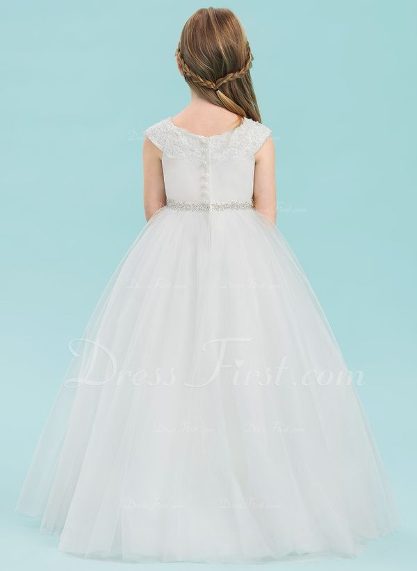 6a885facce Ball Gown Floor-length Flower Girl Dress - Satin Tulle Lace Sleeveless Scoop  Neck With Rhinestone (010143235)