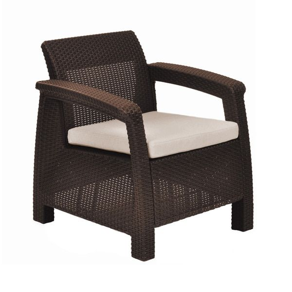 Keter Corfu Brown All-weather Outdoor Garden Patio Armchair with Cushions