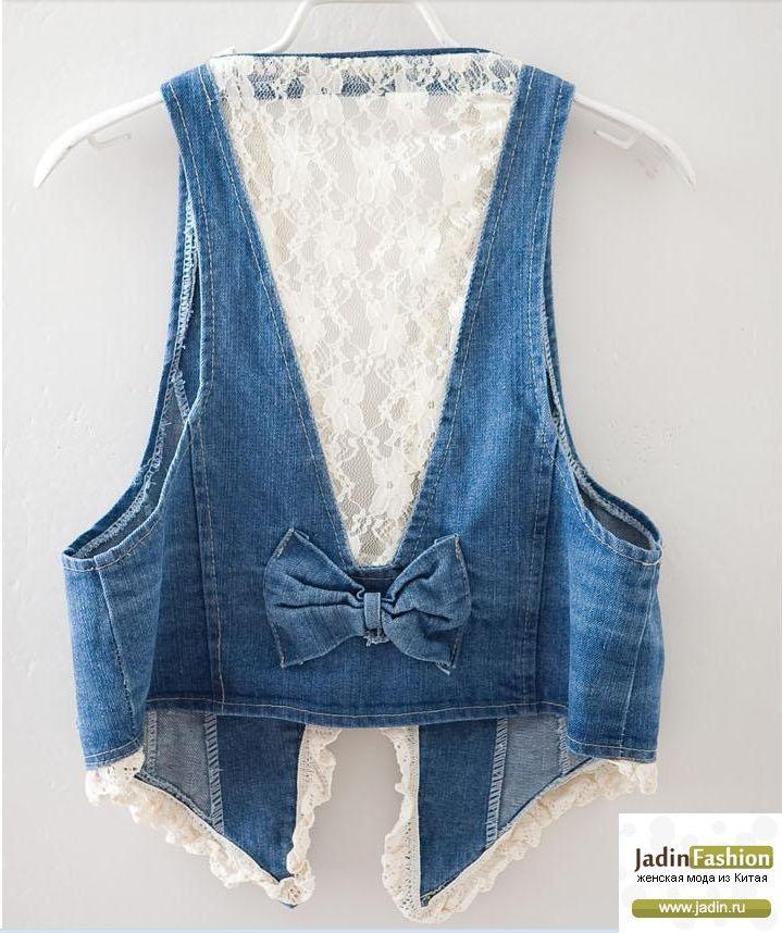 Джинсовая жилетка с кружевной спинкой с доставкой . - Jadin Fashion : Женская мода из Китая