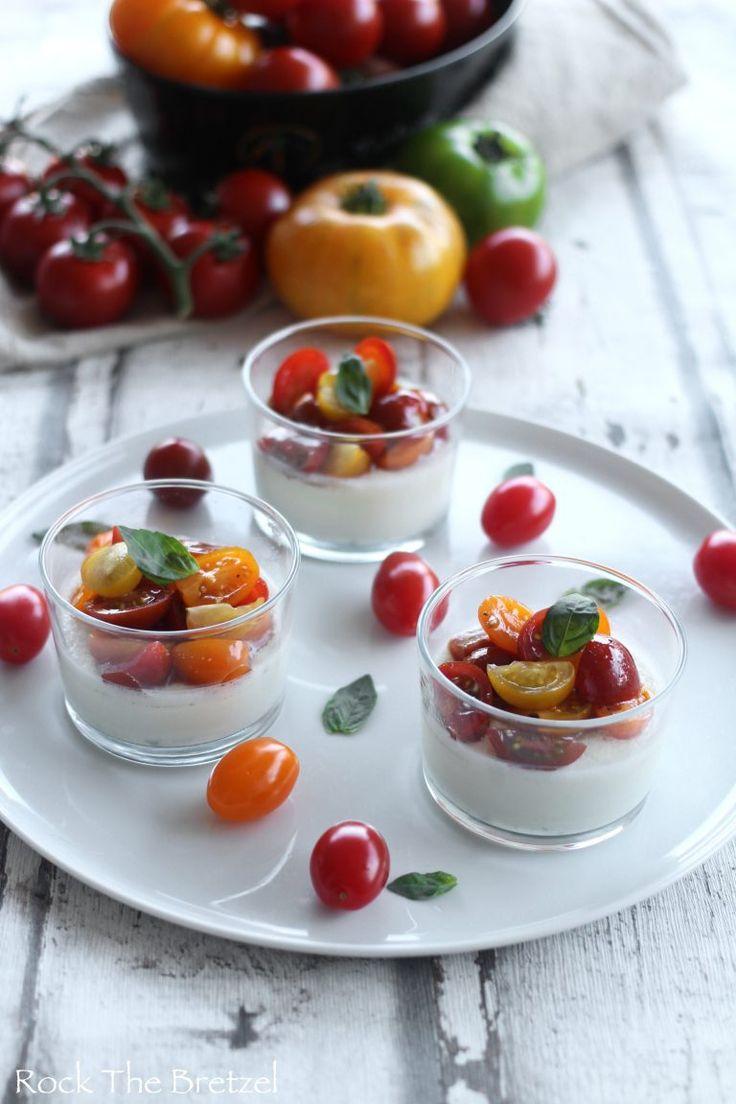Panna cotta mozzarella basilic et petites tomates