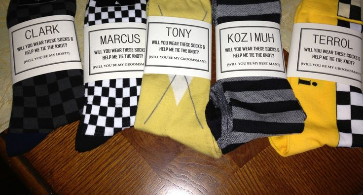 """We made these labels for a customer who wanted a unique way to ask the groomsmen to be in the wedding. """"Will you wear these socks and help me tie the knot? https://www.etsy.com/listing/162347848/will-you-be-my-groomsman-solid-black#HappyCustomer"""