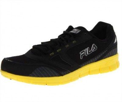 Tênis Fila Men's Memory Deluxe 3 Running Shoe Black Black Neon Yellow #Tenis #Fila