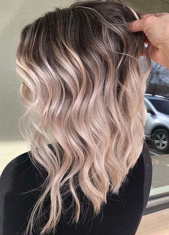 Updated Balayage Highlights with Dark Roots to Show Off in