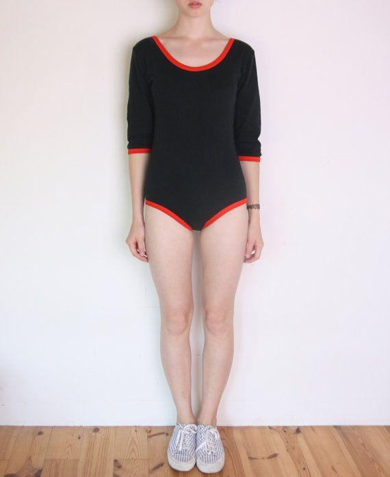 80's black and orange red ringer bodysuit long by WoodhouseStudios